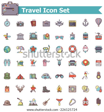 Set of the travel related icons - stock vector
