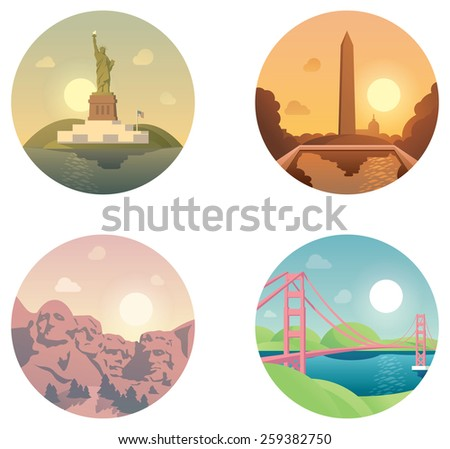 Set of the traveling around US related icons - stock vector