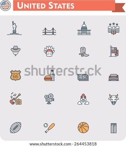 Set of the United States of America traveling related icons - stock vector