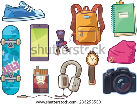 Set of the vector clothes and accessories: sneaker, watch, keys, smartphone, DSLR camera, headphones, skateboard deck, backpack, beanie headwear,  notepad with a bookmarks and a pack of cigarettes. - stock vector