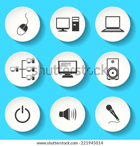 Set of the vector computer icons