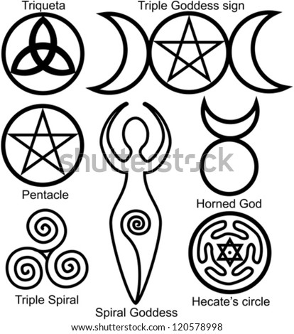 Set of the Wiccan symbols: Triquetra, or Celtic Knot, symbol of Triple Goddess, Pentacle, Spiral Goddess, Horned God, Triple Spiral of Goddess and Hecates circle - stock vector