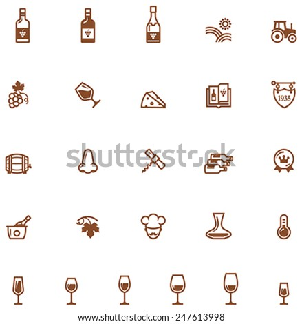 Set of the wine related icon - stock vector