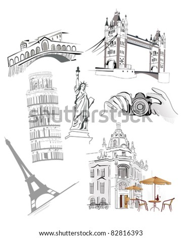Set of the world famous sights - stock vector