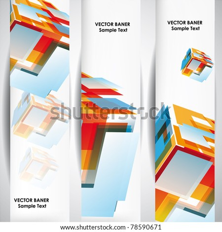 Set of the 160x600 abstract cube banners. - stock vector