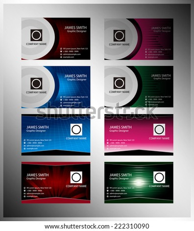 Set of 8 themed business card templates