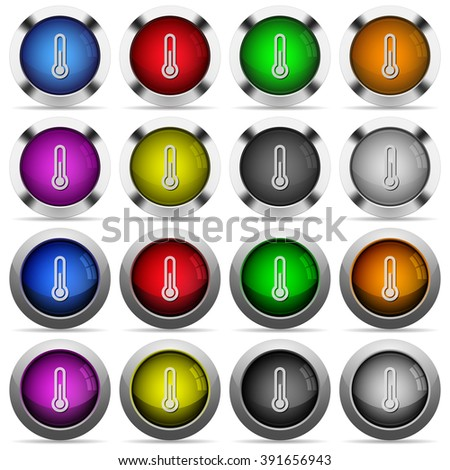 Set of thermometer glossy web buttons. Arranged layer structure.
