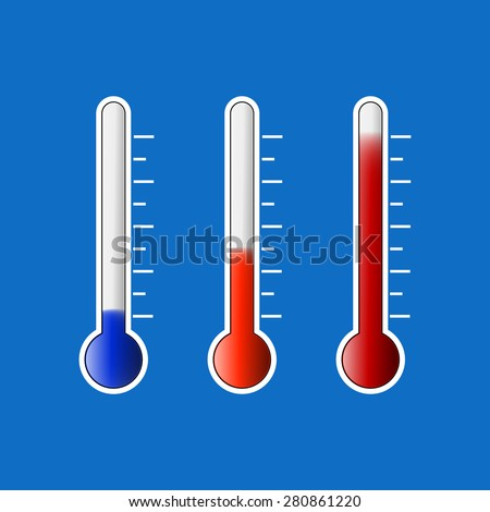 Set of thermometers. Cold,Warm,Hot