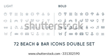 Set of Thin and Bold Vector Beach Sea Bar Elements and Summer can be used as Logo or Icon in premium quality