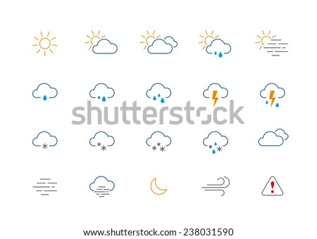 Set of 20 thin and clean outline weather icons for web or mobile use on white background. - stock vector