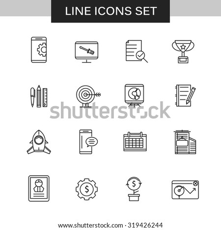 Set of thin flat business vector icons for your design. Creative solution. Can be used for different materials - stock vector
