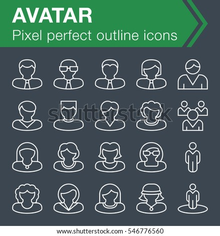 Set of thin line avatar icons for mobile apps and web design.  Pixel perfect trendy thin line icons. Editable stroke.