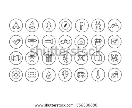 Set of thin line camping icons