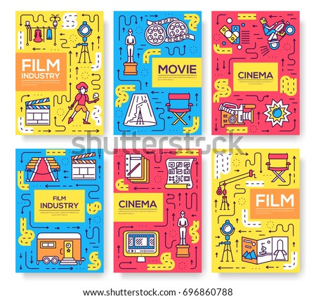 Set of thin line cinema vacation pattern concept. Art traditional, magazine, book, poster, abstract, banners, element. Vector outline package greeting card or invitation design background