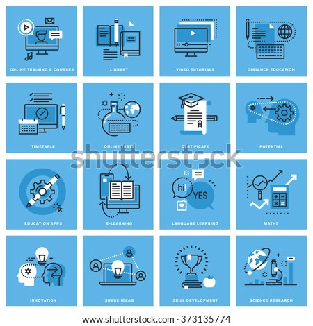 Set of thin line concept icons of distance education, online training, skill development, education apps. Premium quality icons for website, mobile website and app design. - stock vector