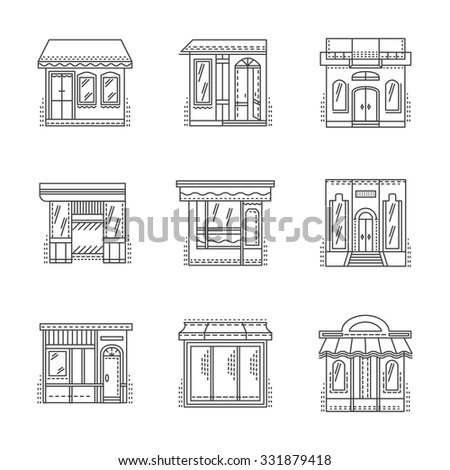 Set of thin line design vector icons for storefronts. Shops, stores, cafe, hotel and other samples building exterior. Elements of web design for business and site. - stock vector