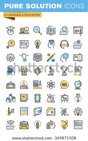 Set of thin line flat design icons of e-learning and education. Icons for websites, mobile websites and apps, easy to use and highly customizable. - stock vector