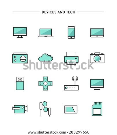 set of thin line flat devices and tech icons, vector illustration