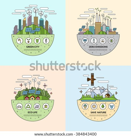 Set of thin line flat ecology concept illustrations with icons of environment, green city, eco life, nature saving, alternative energy, zero emissions, recycling, eco-friendly transport - stock vector