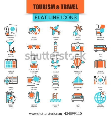 Set of thin line flat icons for tourism recreation, travel vacation to resort hotel. Linear symbols. - stock vector