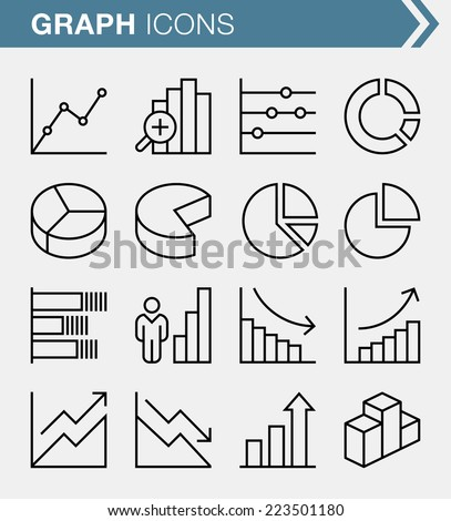 Set of thin line graph icons - stock vector