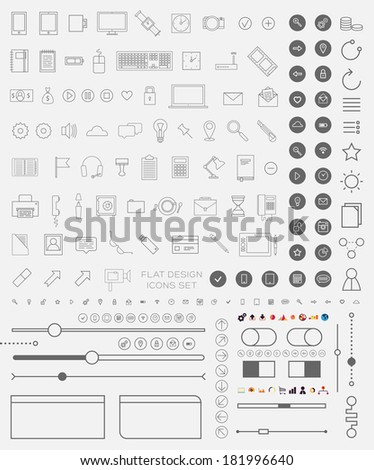 Set of Thin Line Icons and Flat Design Interface Elements. Mobile Phones, Tablet PC, Marketing Technologies, Mobile Apps and Money Management. Concept Icons for Web Design. Buttons and Borders. - stock vector