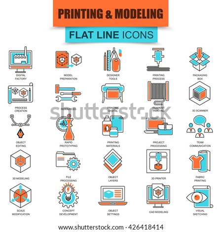 Set of thin line icons 3D printing and modeling technology. Modern mono flat linear concept pictogram, set simple outline icon, symbol for graphics and web designers. Collection flat line icon. - stock vector