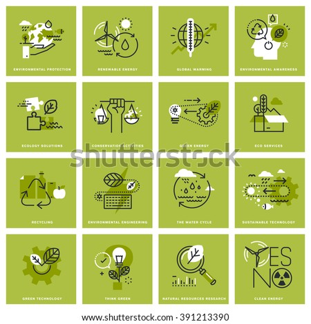 Set of thin line icons of environment, renewable energy, sustainable technology, recycling, ecology solutions. Premium quality icons for website, mobile website and app design. - stock vector