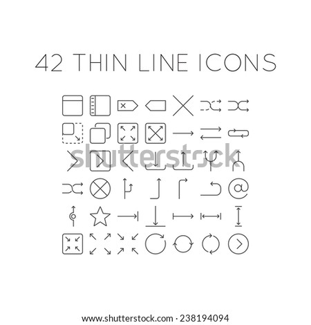 Set of thin line icons with different arrows - stock vector