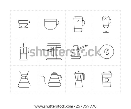 Set of thin line icons with different coffee beverages and ways of preparing - stock vector