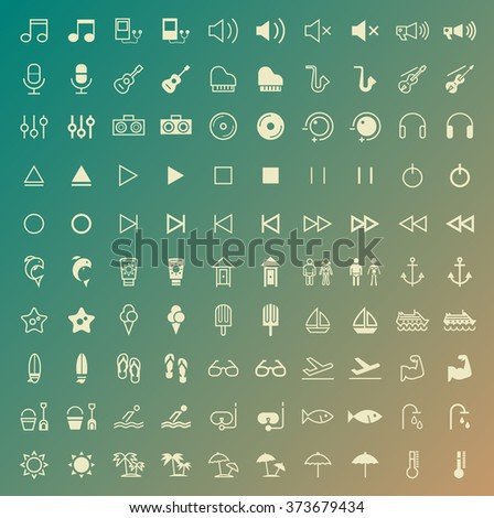 Set of 100 Thin Line Solid Beach and Music Icons. Vector Isolated Elements.