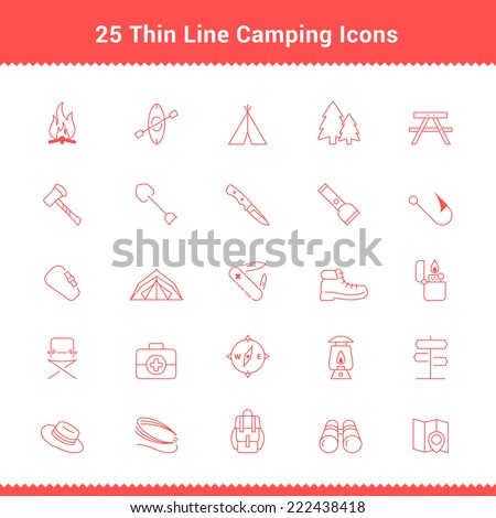 Set of Thin Line Stroke Camping Icons Vector Illustration