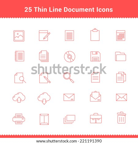 Set of Thin Line Stroke Document Icons Vector Illustration - stock vector