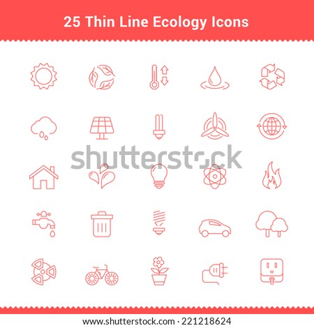 Set of Thin Line Stroke Ecology Icons Vector Illustration - stock vector