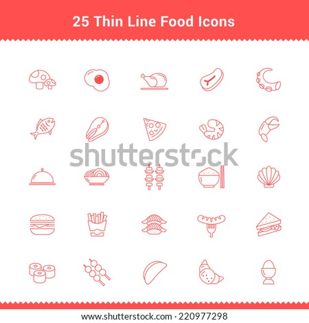 Set of Thin Line Stroke Food Icon Vector illustration - stock vector