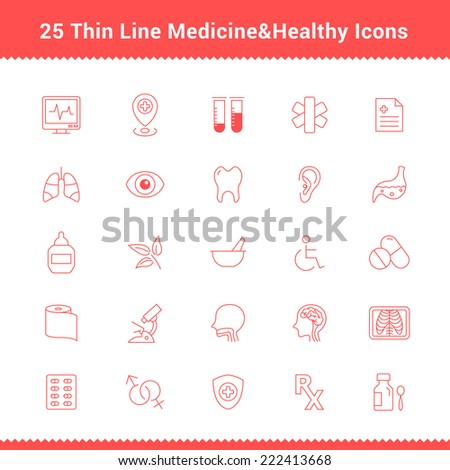 Set of Thin Line Stroke Medical Icon Vector Illustration - stock vector