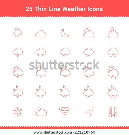 Set of Thin Line Stroke Weather Icons Vector Illustration - stock vector