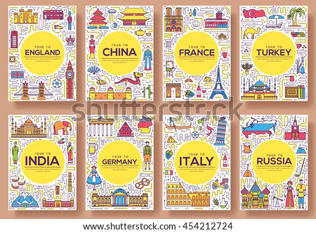 Set of thin line travel world country concept. Art traditional, magazine, book, poster, abstract, banners, element. Vector outline package greeting card or invitation design background - stock vector