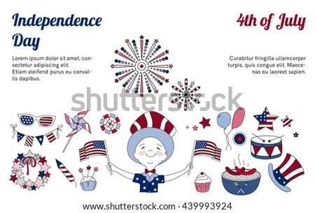 Set of thin line vector elements for USA Independence Day. Collection of icons for national holiday of America. 4th of July. Fireworks, BBQ and boy with flags. Blue and red horizontal design.