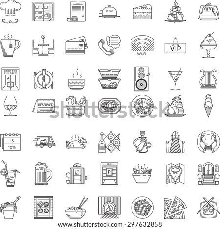 Set of 49 thin line vector icons for restaurant. Food menu, serving, interior, entertainment and other services for business and website - stock vector