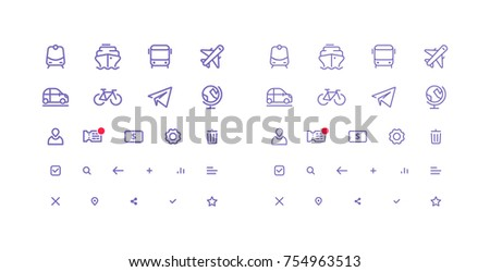 Set of Thin Line Vector Icons for Transport