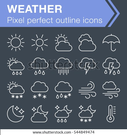 Set of thin line weather icons for mobile apps and web design.  Pixel perfect trendy thin line icons. Editable stroke.