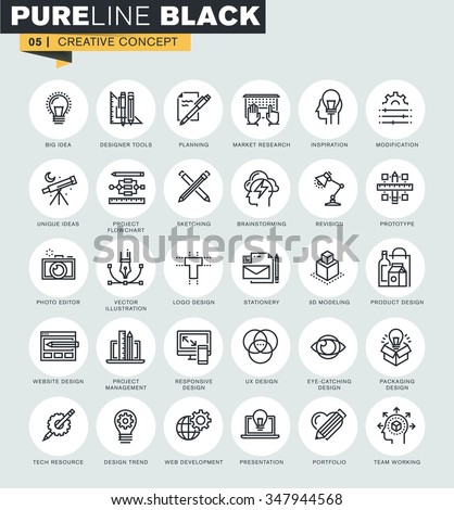 Set of thin line web icons of graphic design and project workflow. Premium quality icons for website, mobile website and app design.  - stock vector