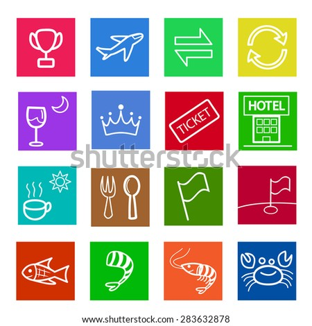 Set of thin linear flat icon for cafe and restaurant in kid drawing style.  reward, flight,exchange,convert,dinner,royal,ticket,hotel,breakfast,lunch,flag,golf course, fish,sea food,fresh shrimp,crab - stock vector