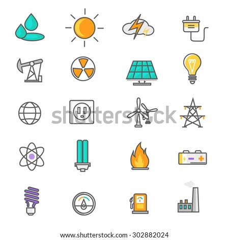 Set of thin lines icons energy and resource icon set power and energy production, electric industry, natural energy sources. Flat thin line icons modern design style - stock vector