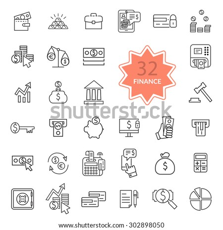 Set of thin, lines, outline financial service items icons, banking accounting tools, stock market global trading and money objects and elements. Flat thin line icons modern design style - stock vector