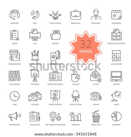 Set of 32 thin, lines, outline office items icons. Icon set, office icons, business icon set, icons, office, business icons, web icon set, business and finance, office and business. Interface icon - stock vector