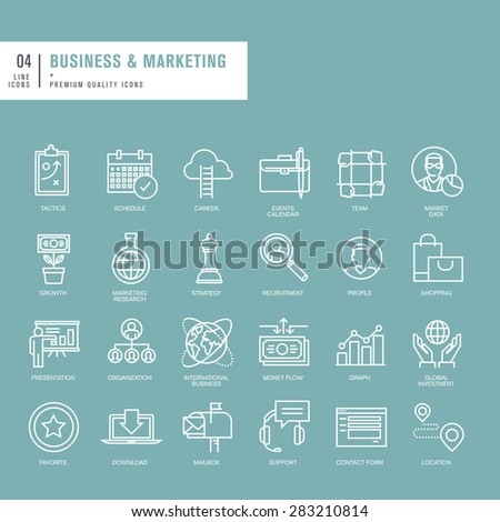 Set of thin lines web icons for business - stock vector
