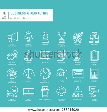 Set of thin lines web icons for business and marketing - stock vector