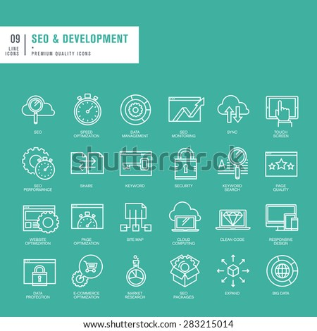 Set of thin lines web icons for SEO and web development - stock vector
